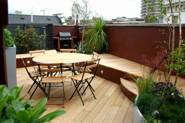 terrace design ideas wooden furniture
