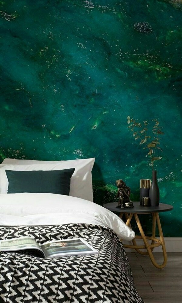 dark green beautiful photo wallpaper bedroom