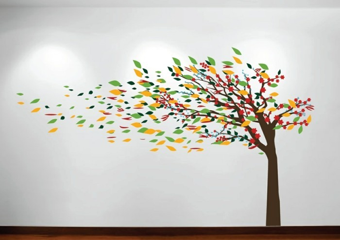 beautiful wall tattoos colored tree falling leaves