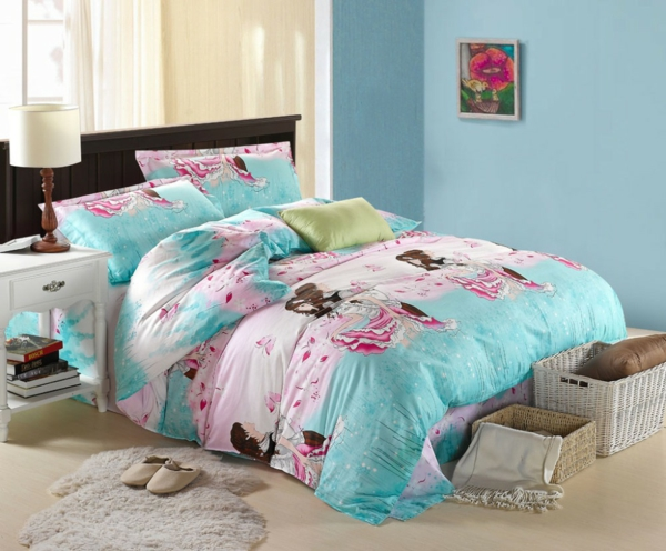 children's room decorate girl colored bedding