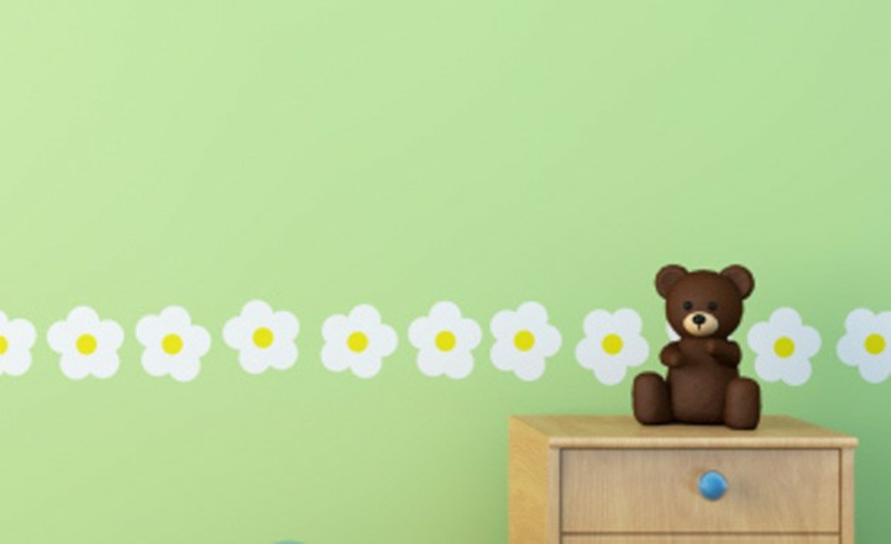 green wallpaper nursery floral pattern simple design