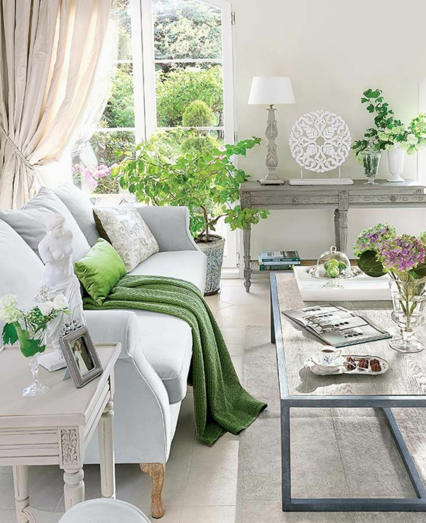 Living room decorated with green plants