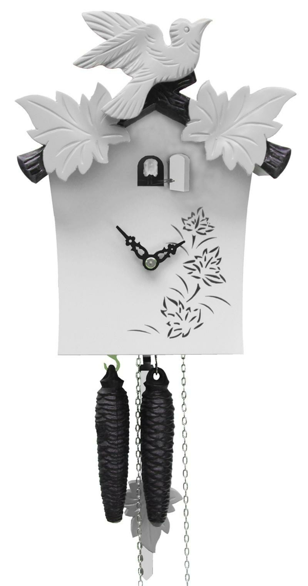 black white cuckoo clock modern