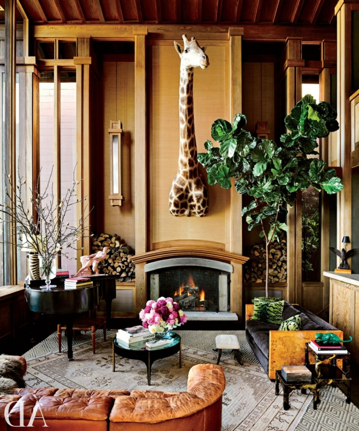 indoor plants decoration living room fireplace