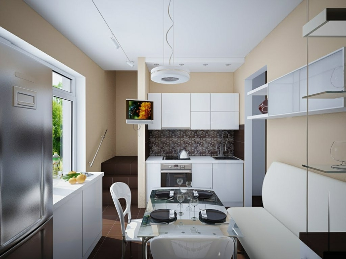 living ideas kitchen small kitchen dining area white furnishings brown flooring