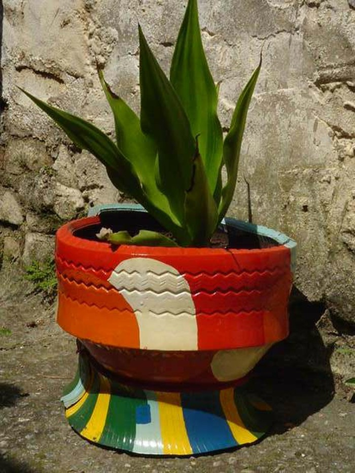 deco garden old car tires colored make plant container