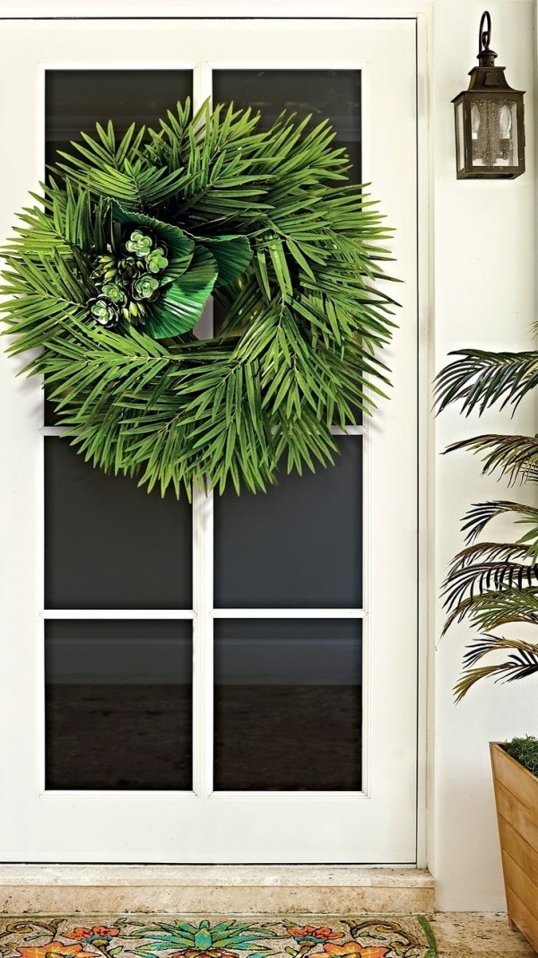 Palm Sunday celebrate palm branches tie to the wreath front door decorate