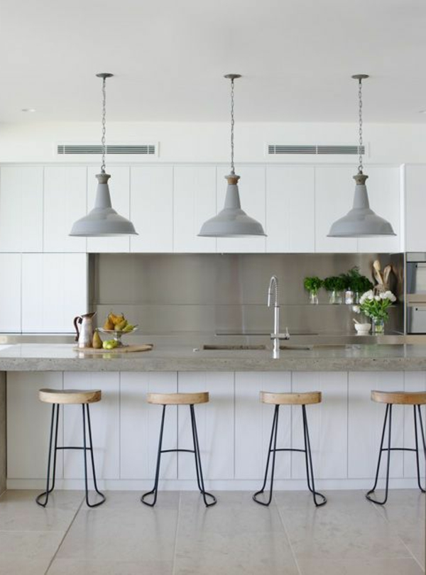 living kitchen design hanging lamps