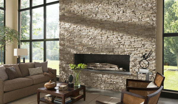 stone wall living room fireplace coffee table sofa plant