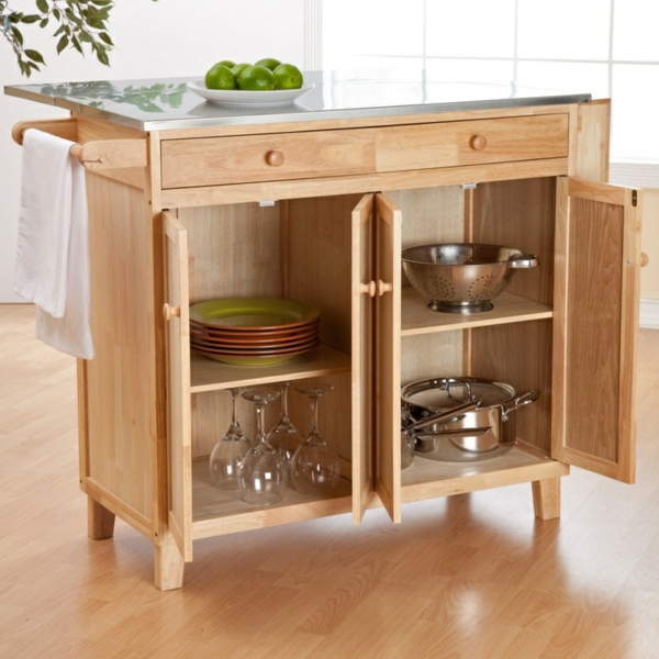 Portable kitchen islands glass wood plate