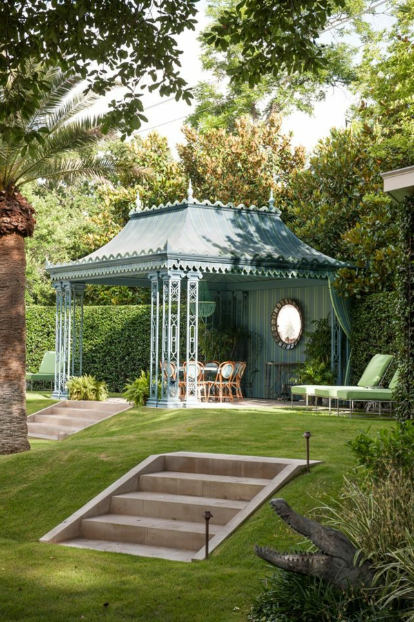 gazebo blue wrought iron