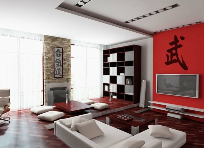 Japanese decor living room in Japanese style wall decoration ideas