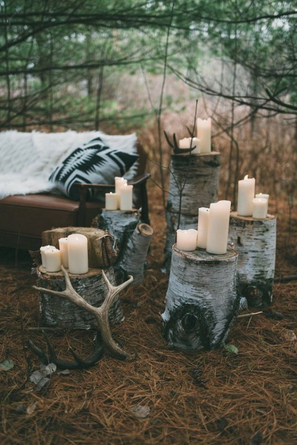 Outdoor seating in the woods