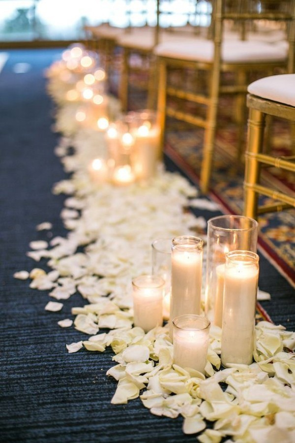 beautiful candles and leaves wedding outside
