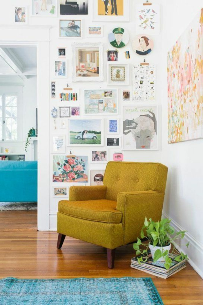house plants living room fashion yellow armchair blue carpet wall decorating