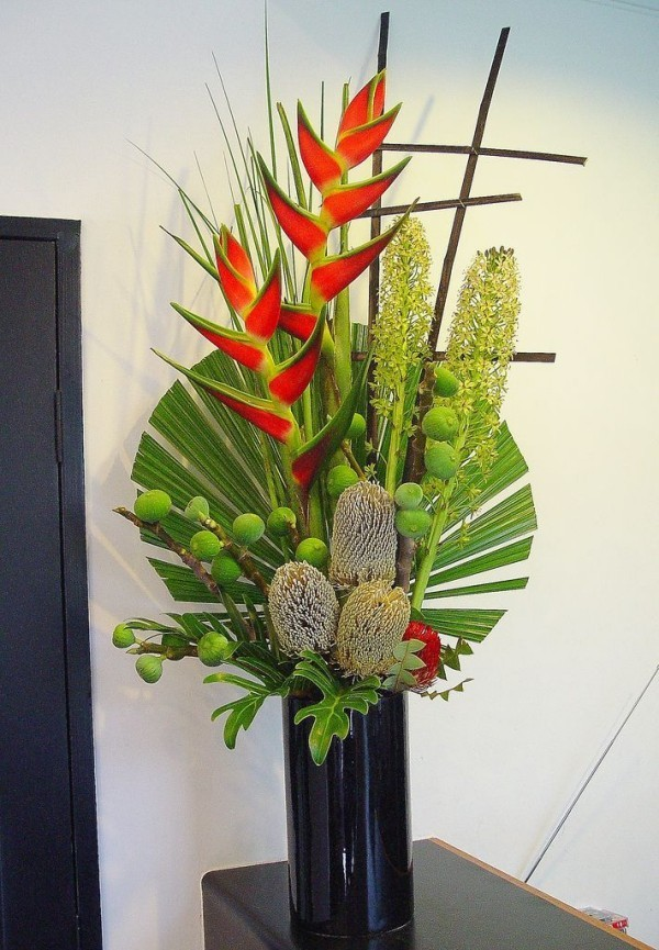 Wonderful room decoration on Palm Sunday with palm branches at home
