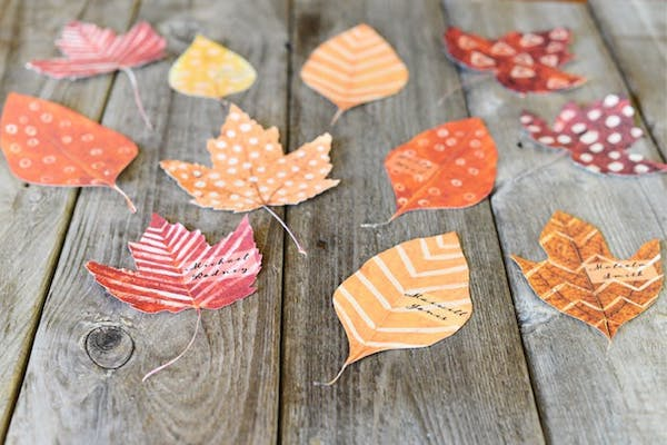 leaf shapes as a name card