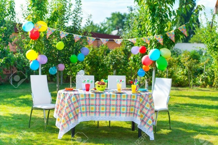 Colorful decoration for a summer party with toddlers