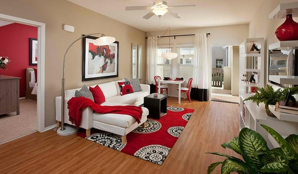 small living room red white couch