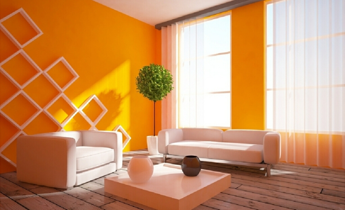 wall colors ideas furnishing examples wood orange white puristic
