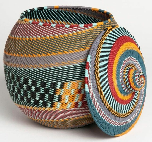 africa decoration basket with colorful african patterns
