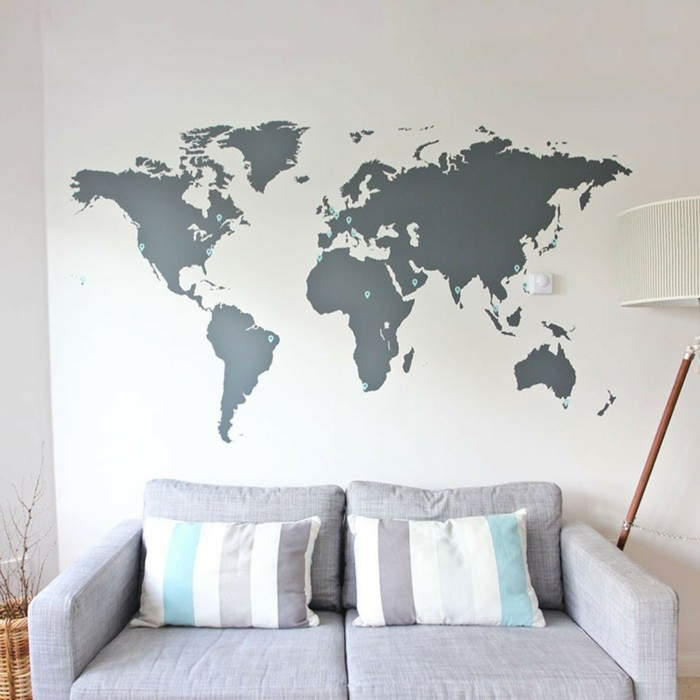 Wall decoration world map wall concepts