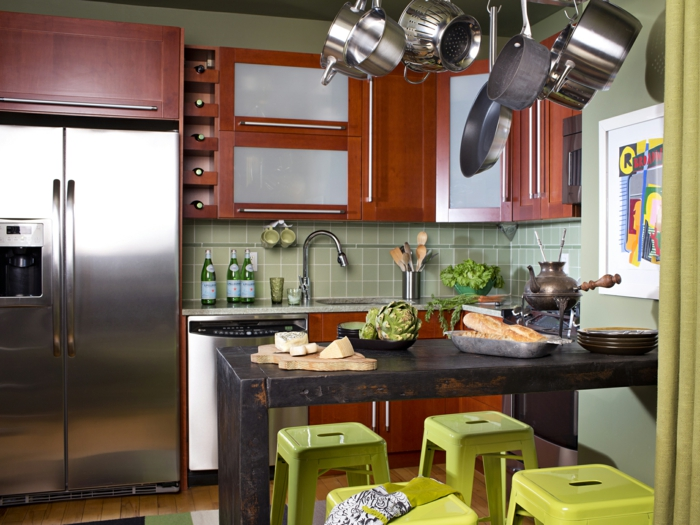 small kitchen set up colored accents green kitchen back wall kitchen table