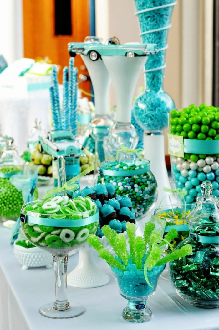 table decoration blue sky blue blue and green