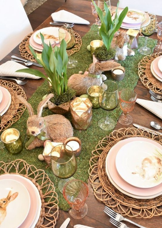 Easter table decoration rabbits