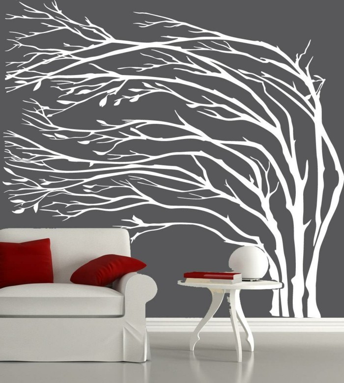 wall decals tree wall decoration ideas living room red throw pillow