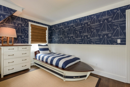 youth room for boys wall mural blue maritime white blue