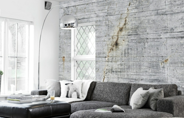 Wall color daylight Concrete look sofas gray