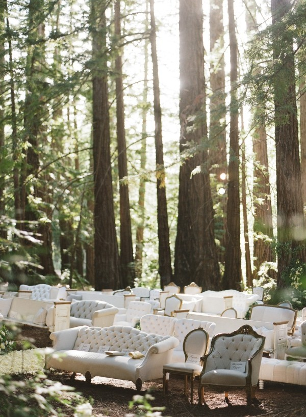 wedding outside great seats in the forest