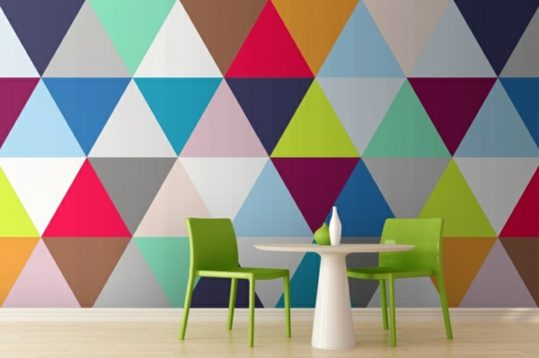 dining room wallpaper geometric pattern colored