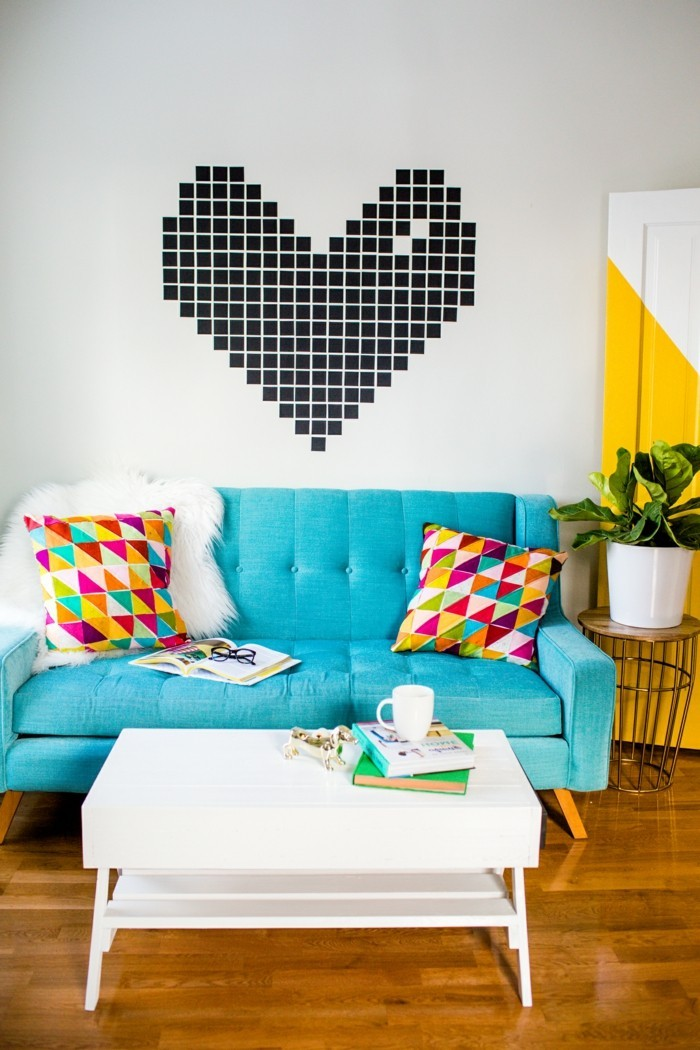 all you love for valentines day heart color contrasts blue sofa white coffee table