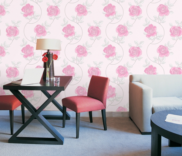 wall design floral motifs roses wallpaper