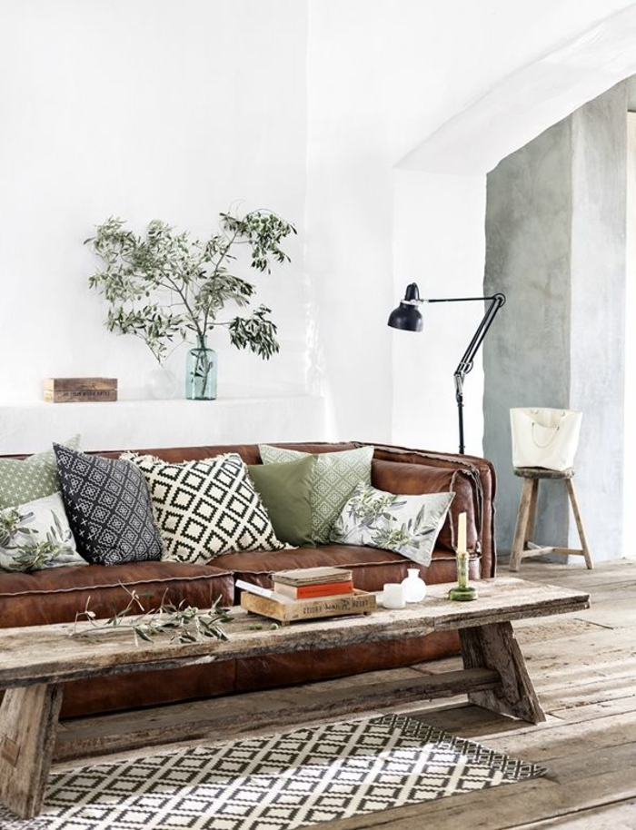 throw pillow living room deco ideas rustic coffee table carpet runner plant