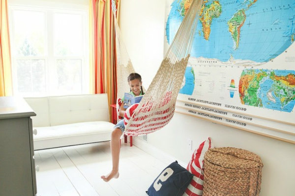 charming children's areas for learning hammock basket couch world map