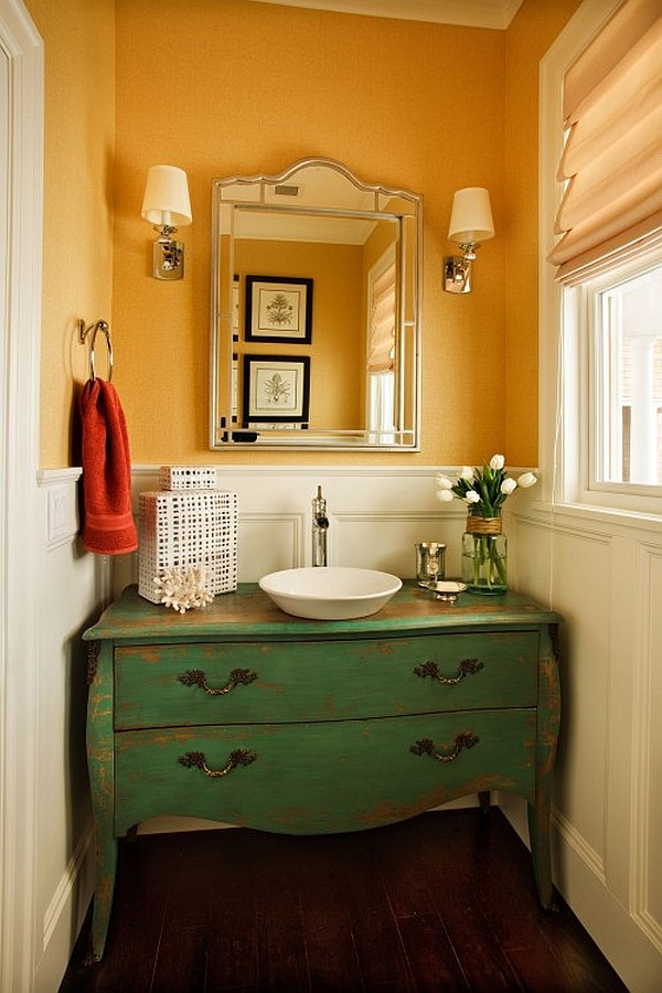 Guest toilet decoration green cabinet yellow wall