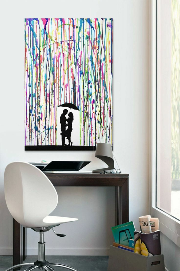 diy modern canvas pictures of rain loving couple