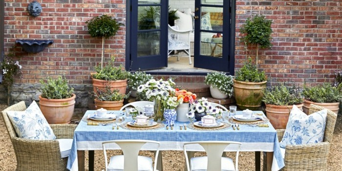 Dining table in the summer garden