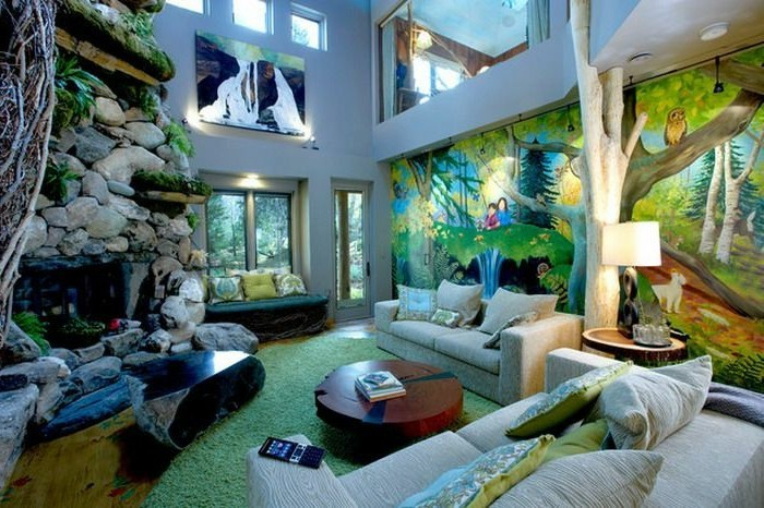 wall decoration deco living room jungle furnishing ideas