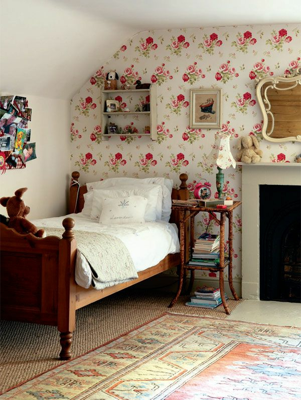 wallpaper country style bedroom fireplace