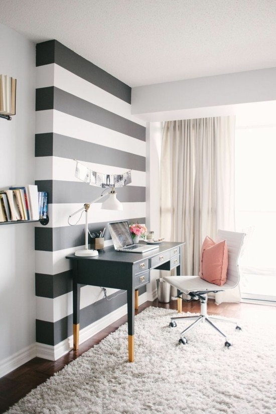 remodel black and white striped walls
