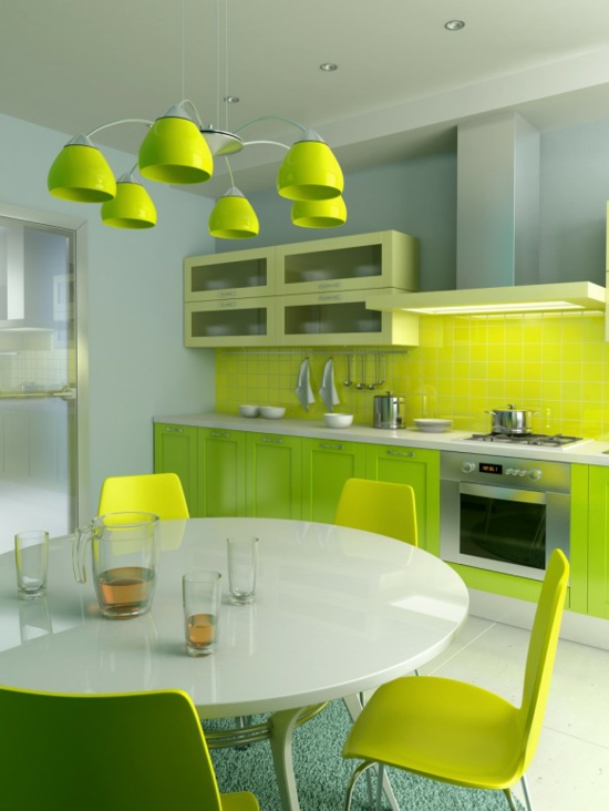 color ideas for kitchen green fresh neon dining table