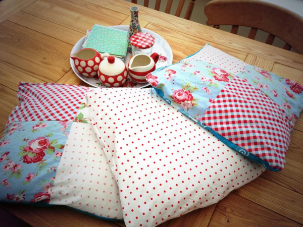 patchwork fabrics throws dots checkered floral elements
