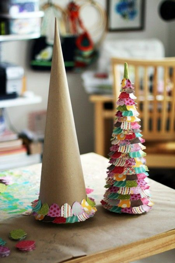 make christmas tree ornaments craft yourself christmas tree make cardboard colorful paper