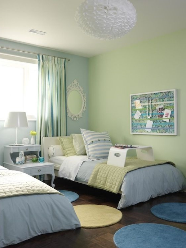 wall design color combination green tones nursery room