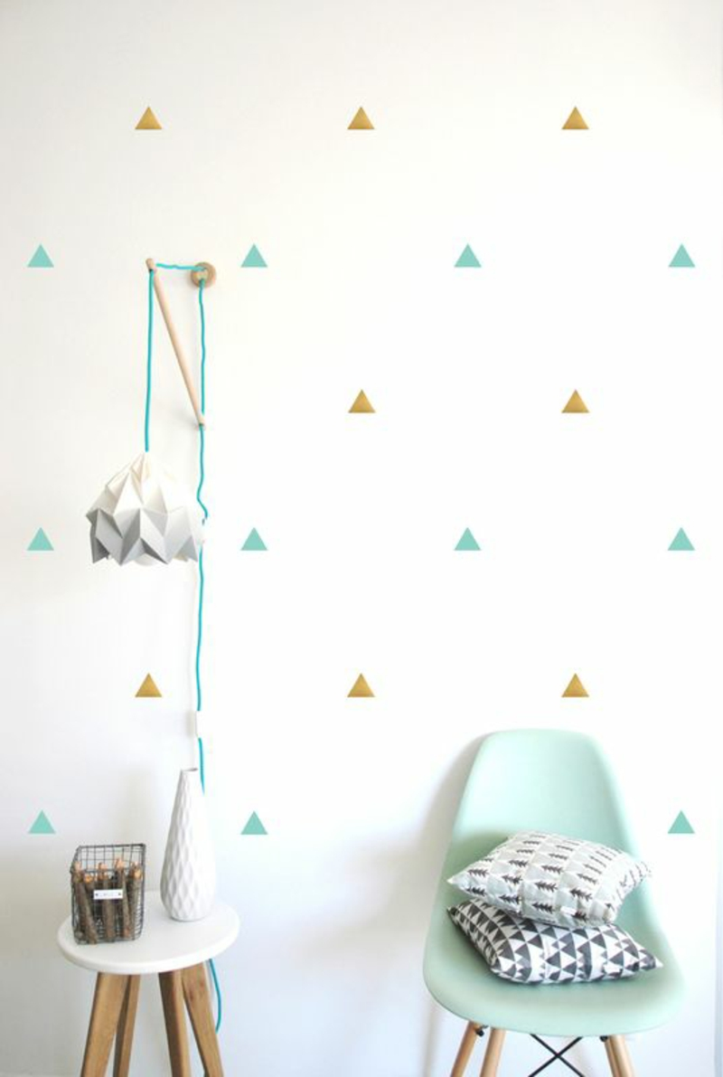 Pattern wallpaper colored triangles wallpaper for nursery design