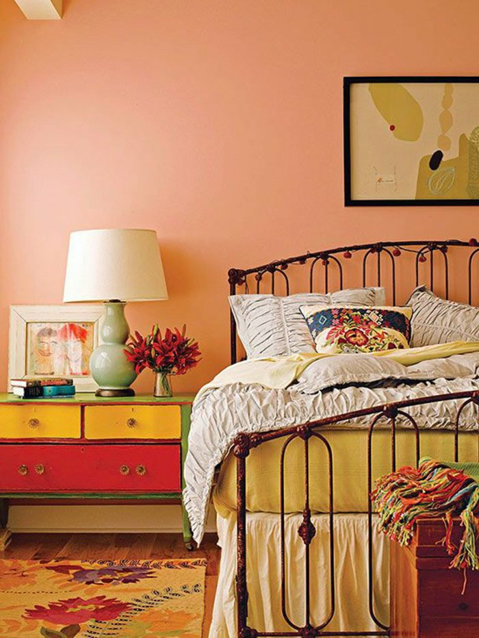 wall colors ideas furnishing examples wood orange white next to yellow